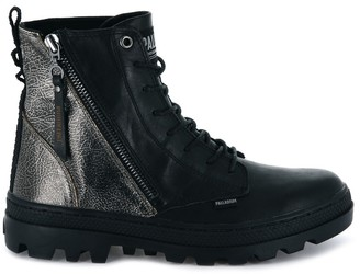 Palladium Pallabosse Hi Metallic Leather Ankle Boots with Laces and Zip