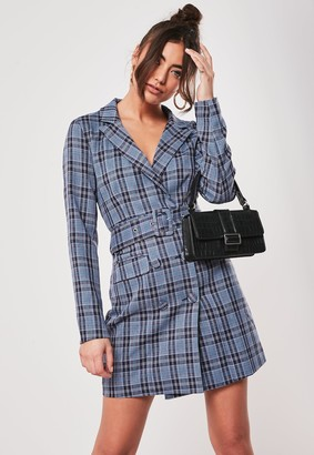Missguided Blue Check Belted Blazer Dress
