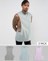 Asos 3 Pack Longline Sleeveless T-Shirt In Gray Marl/Purple/Gray With Extreme Dropped Armhole SAVE