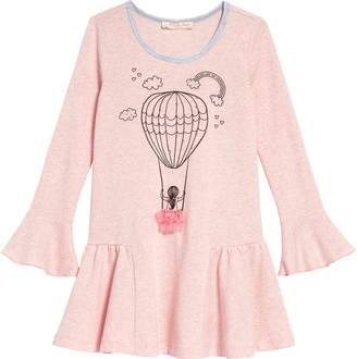 Truly Me Embellished Balloon Graphic Long Sleeve Dress