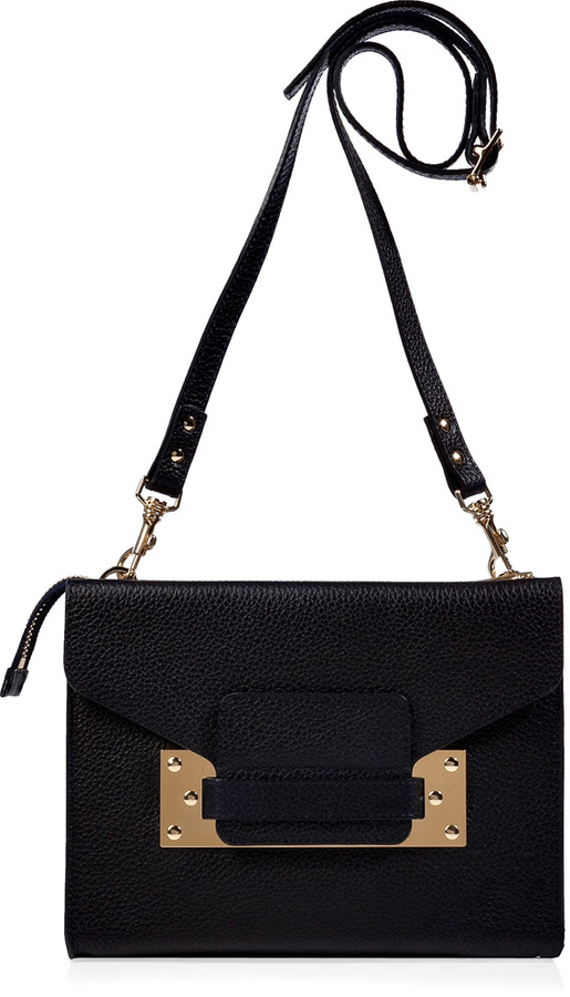 Sophie Hulme Navy Soft Leather Convertible Mini Envelope Clutch