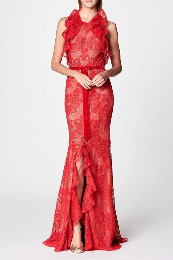 Marchesa Sleeveless Lace Gown