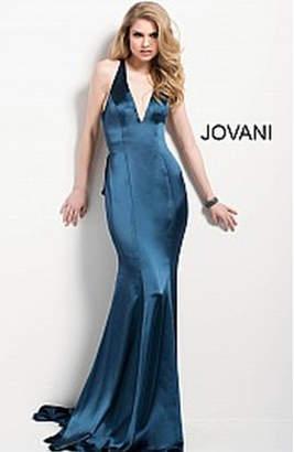 Jovani Navy Satin Gown