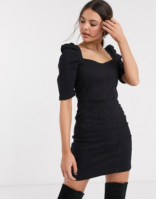 Bershka volume sleeve denim dress in black