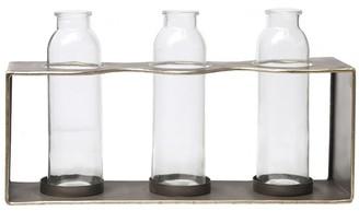 Overstock Metal Rectangular Bud Vase Holder with 3 Glass Bottles, Set of 2, Copper