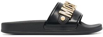 Moschino Lettering Logo Flat Slides