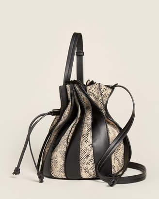 Street Level Black Snakeskin-Embossed Pleated Bucket Bag