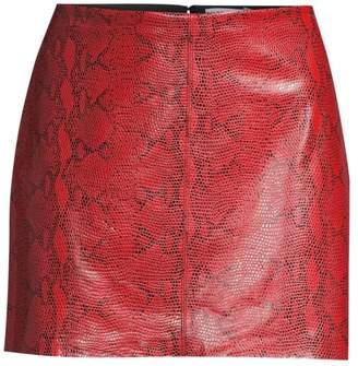 Alice + Olivia Elana Snakeskin-Print Leather Mini Skirt