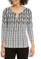 Calvin Klein Keyhole Neck Geometric Stripe Printed Matte Jersey Top