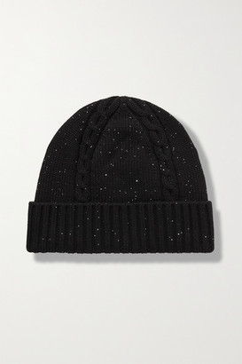 Loro Piana Sequin-embellished Cable-knit Cashmere-blend Beanie - Black