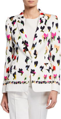 Escada Abstract Floral-Print Hammered Blazer