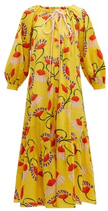 Borgo de Nor Natalia Lip And Floral-print Cotton Midi Dress - Womens - Yellow Multi