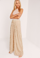 Missguided Velvet Wide Leg Trousers Cream