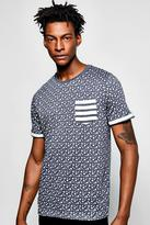 Boohoo All Over Star Print T Shirt With Pocket