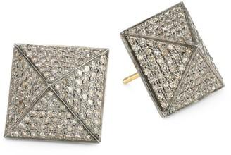 Nina Gilin 14K Black Rhodium Silver & Diamond Stud Earrings