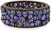 Bavna Wide Tanzanite & Diamond Hinged Bangle Bracelet