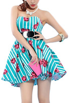 Romwe Roses Print Belted Puff Full Dress