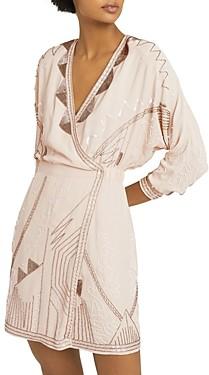 Reiss Saskia Beaded Mini Faux Wrap Dress