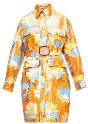 Fendi Floral-print Coated-cotton Coat - Womens - Brown Multi