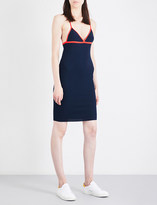 Mo&Co. Contrast-detail V-neck knitted dress