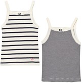 Petit Bateau 2 Pack of Navy and Cream Stripe Vests