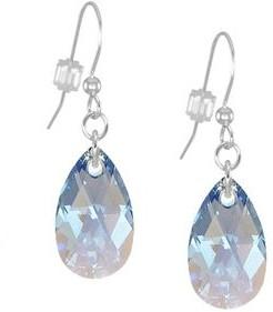 Handmade Jewelry by Dawn Sapphire Blue Aurora Borealis Long or Short Crystal Teardrop Sterling Silver Earrings