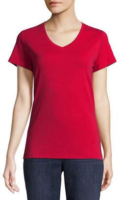 ST. JOHN'S BAY Tall-Womens V Neck Short Sleeve T-Shirt
