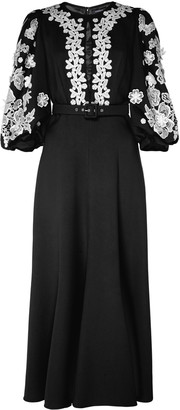 Andrew Gn Belted Lace-Embroidered Crepe Midi Dress