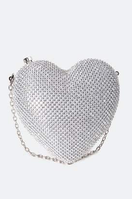 francesca's Alli Rhinestone Heart Minaudiere - Silver