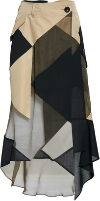Sacai Hank Willis Thomas Patchwork Asymmetrical Skirt