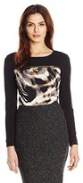 Calvin Klein Women's Long Sleeve Top with Horizontal Zip