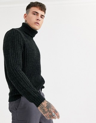 Asos Design DESIGN heavyweight fisherman rib roll neck sweater in charcoal-Gray