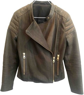 J. Lindeberg Green Leather Leather Jacket for Women