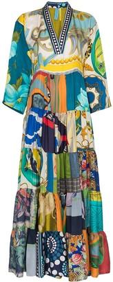 RIANNA + NINA mixed print V-neck kaftan dress