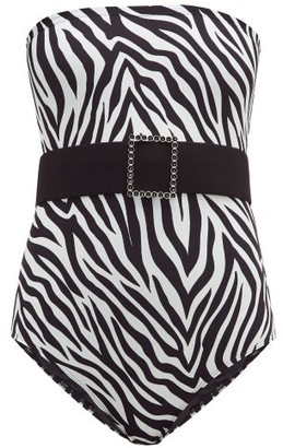 Leslie Amon Sacha Belted Zebra-print Bandeau Swimsuit - Black White