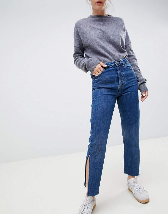Asos Design DESIGN Recycled Florence authentic straight leg jeans with side splits in rich stonewash blue