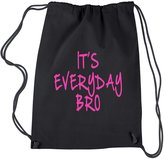 Expression Tees Backpack (Pink Print) It's Everyday Bro Drawstring Backpack