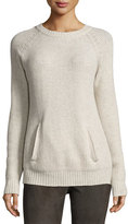 Neiman Marcus Long-Sleeve Wool-Blend Pullover, Oatmeal