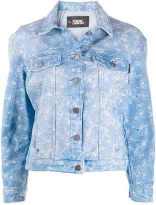 Karl Lagerfeld Paris Orchid-print denim jacket