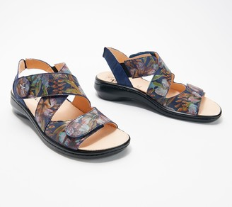 Think! Printed Leather Back-Strap Sandals - Camilla