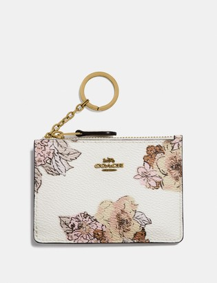 Coach Mini Skinny Id Case With Floral Bouquet Print