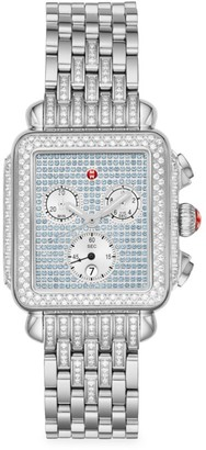 Michele Limited Edition Deco Stainless Steel, Pave Sapphire & Diamond Chronograph Bracelet Watch