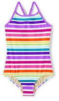 Classic Little Girls Crossback One Piece Swimsuit-Multi Stripe