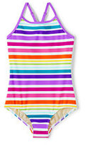 Lands' End Toddler Girls Crossback One Piece Swimsuit-Multi Stripe