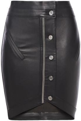RtA Zip-embellished Leather Mini Skirt