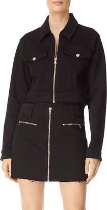J Brand Cropped Zip-Front Denim Moto Jacket