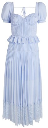 Self-Portrait Pleated Chiffon Midi Dress