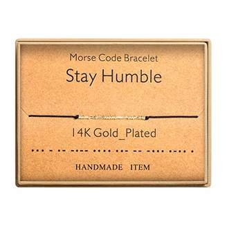Morse Code Bracelet 14k Gold Plated Beads on Silk Cord Secret Message Stay Humble Bracelet Gift Jewelry for Her
