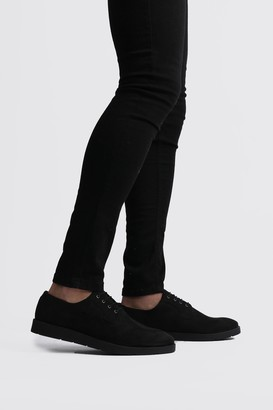 boohoo Mens Black Faux Leather Crepe Sole Lace Up, Black