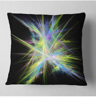 """Chaos Designart Yellow Blue Multicolored Rays Abstract Throw Pillow - 16"""" X 16"""""""